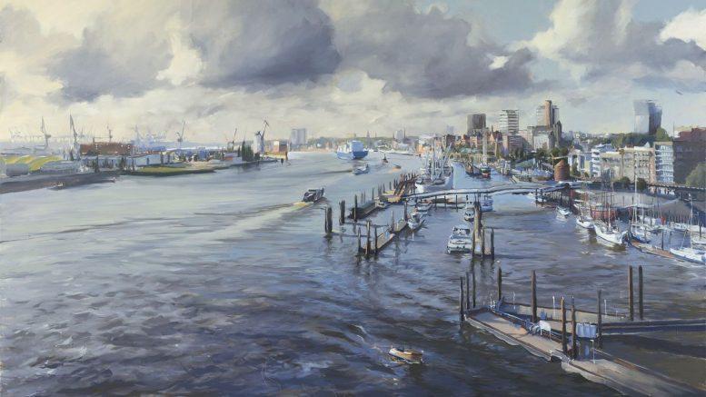 Westen - Realistisches Ölgemälde Hamburger Hafen von der Elphi aus gesehen