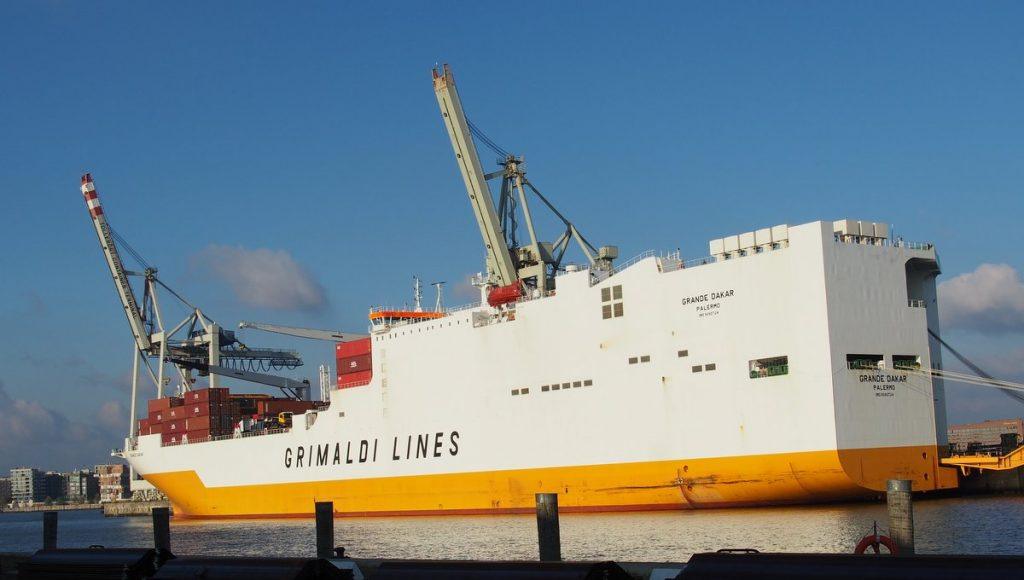 Der RoRo-Frachter  Grande Dakar im Hamburger Hafen