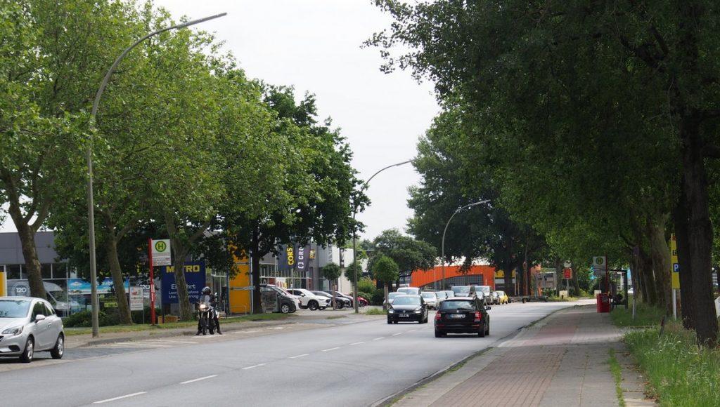 Die Straße Großmoorbogen in Hamburg