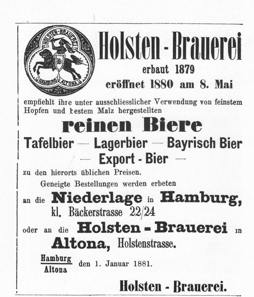 Historische Anzeige im Börsenblatt anlässlich des Starts der Holsten Brauerei