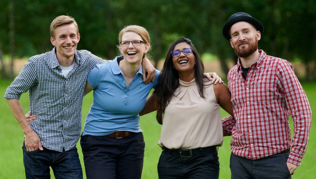 Die vier jungen Pächter des Simbekhofes in Bispingen, Gruppenaufnahme