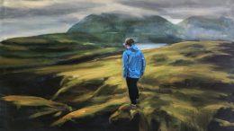 Gemälde Frau auf den Faröer-Inseln im blauen Anorak