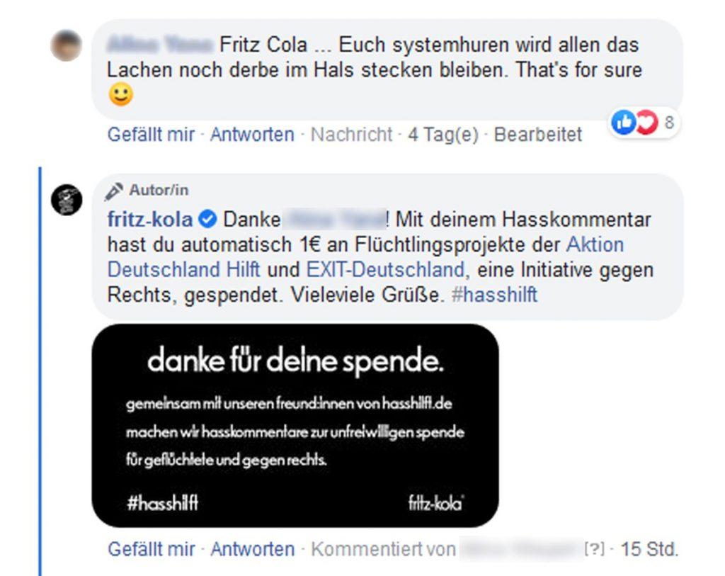 Facebook-Screenshot von fritz-kola zum Thema Hasskommenar