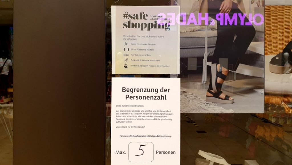 Hygiene Auflagen im Handel, Infoschild für Käufer