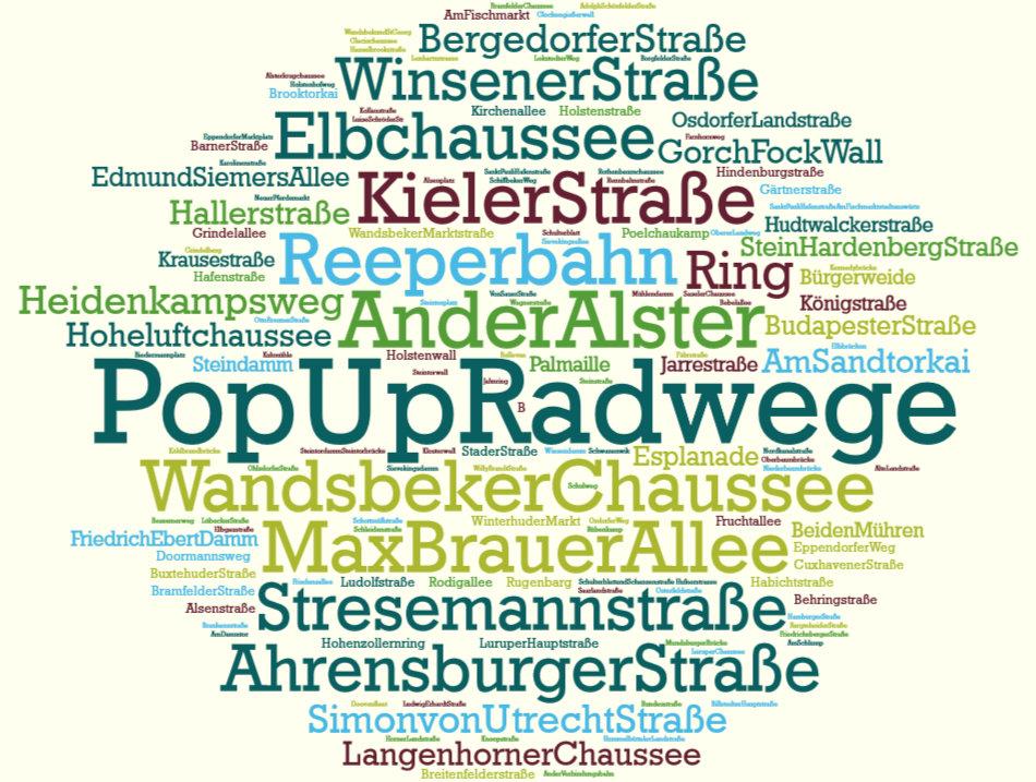 Cloud Wünsche Straßen für pop up Radwege in Hamburg