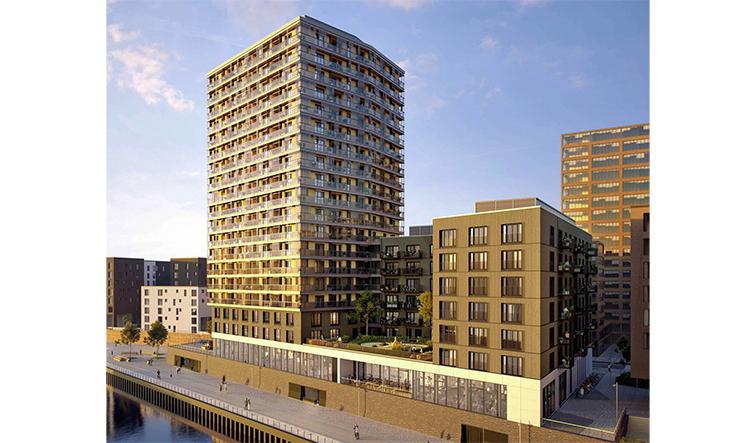 Deutschlands höchstes Holzhochhaus HafenCity Hamburg Visualisierung