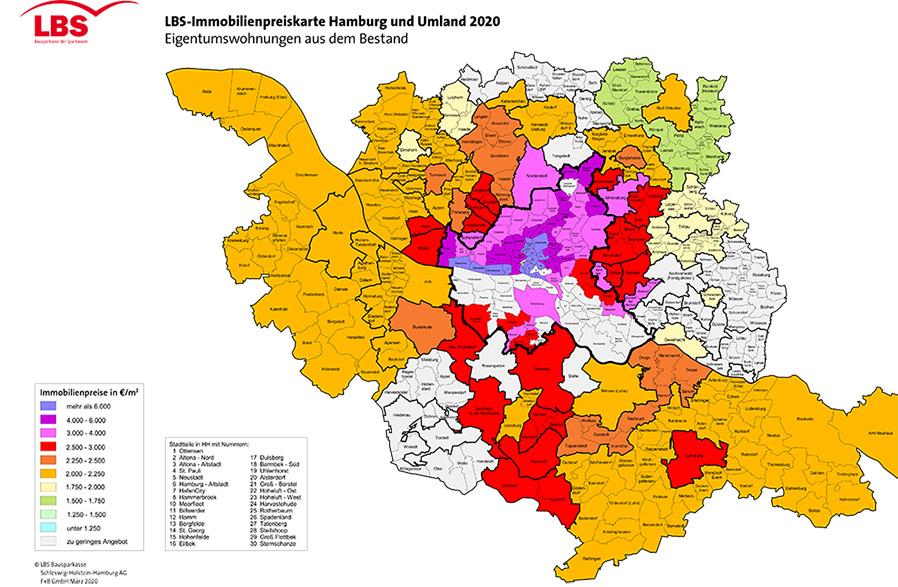 LBS-Immobilienpreiskarte Hamburg und Umland 2020 für Eigenturmswohnungen