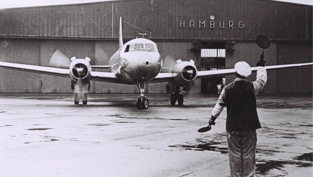 Lufthanse Convair CV 340 in Hamburg in den 1950er Jahren