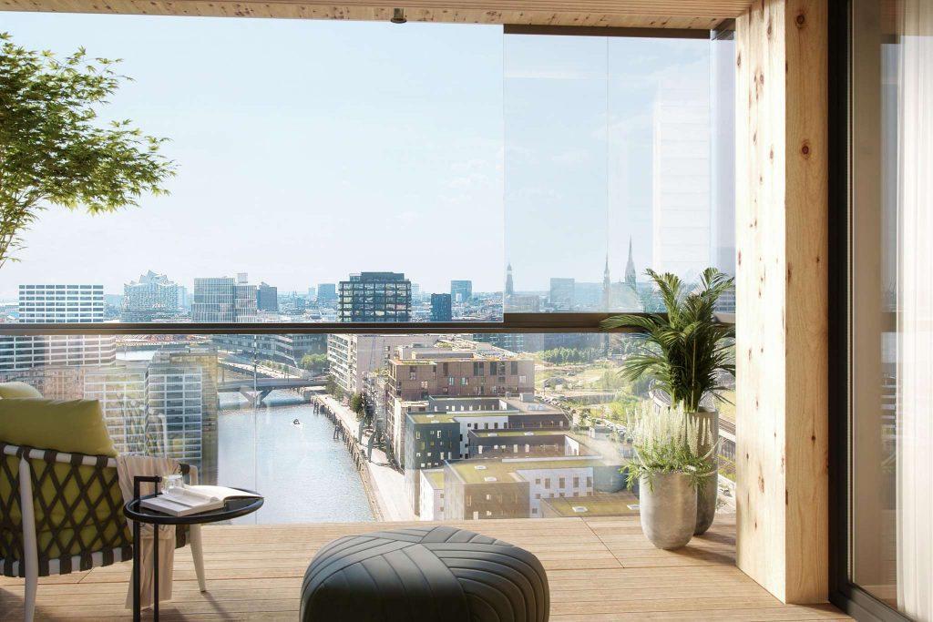 Balkonverglasung mit Blick auf die HafenCity