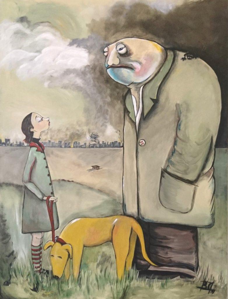 Mann mit Kind und Hund im Comicstyle