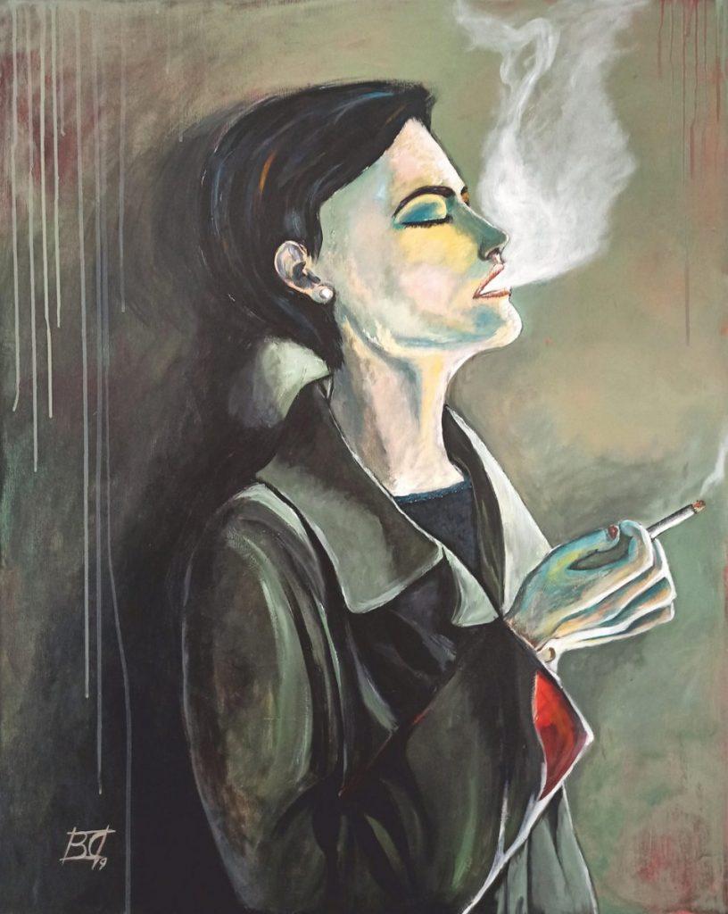malerei: Frau raucht lehnt gegen eine Wand
