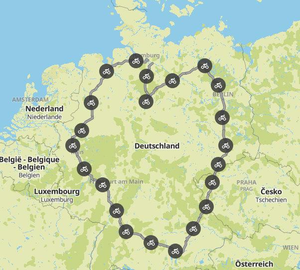 Die herzförmige Deutschlandroute der Stiftung KinderHerz - Kartenansicht
