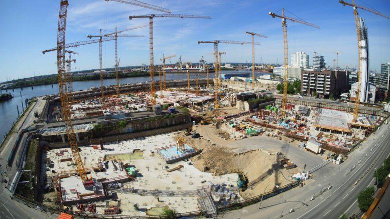 Baustelle Überseequartier in Hamburg im Mai 2021