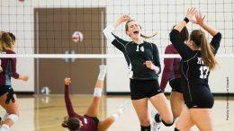 Teamsport: Junge Frauen spielen Volleyball