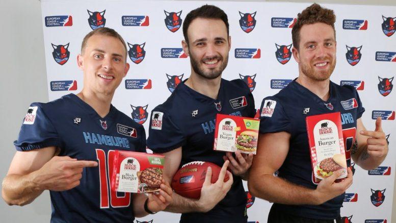 Drei Hamburg Sea Devils American Football Spieler