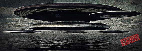 Eine Ufo-Formation fliegt über die Barentssee