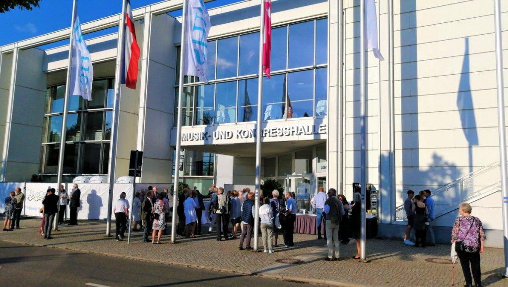 Eingang Musik und Konzerthalle Lübeck beim Eröffnung Klassik, Schleswig-Holstein beim Musik Festival in Lübeck