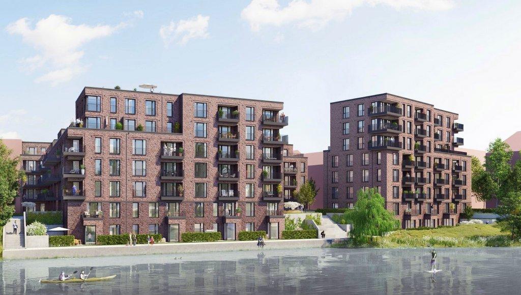 Visualisierung Bauprojekt Osterbekkai -Hufnerstrasse Hamburg Barmbek, rote Klinkerhäuser am Kanal