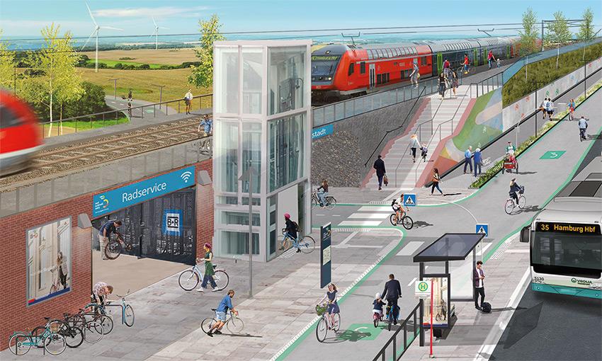 Visualisierung Anbindung eines Radschnellweges an einen Bahnhof
