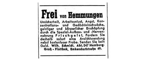 Kleinanzeige schwarz-weiß aus den den 1960er Jahren. Text Frei von Hemmungen